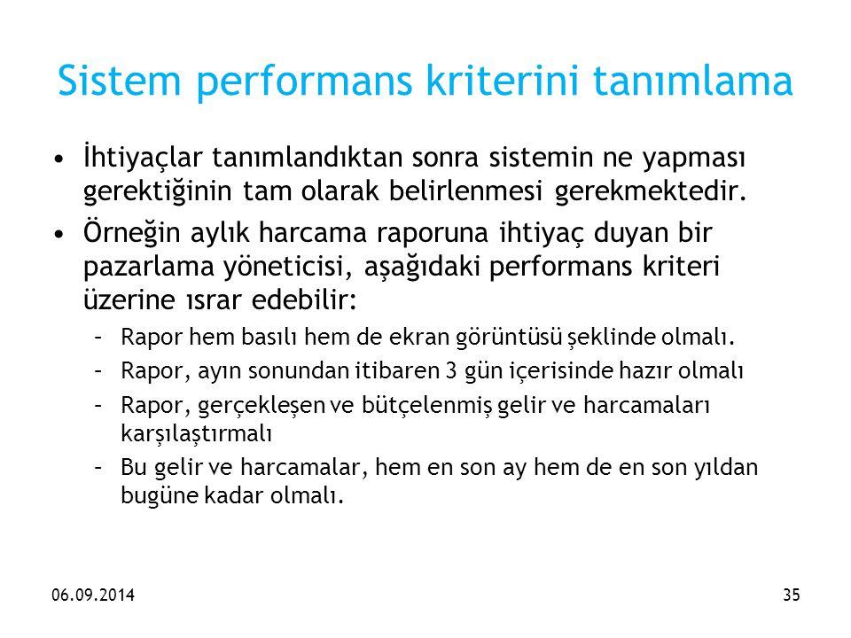 Sistem performans kriterini tanımlama