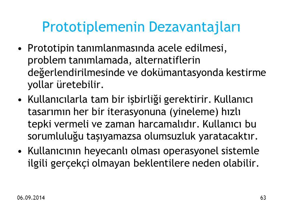 Prototiplemenin Dezavantajları