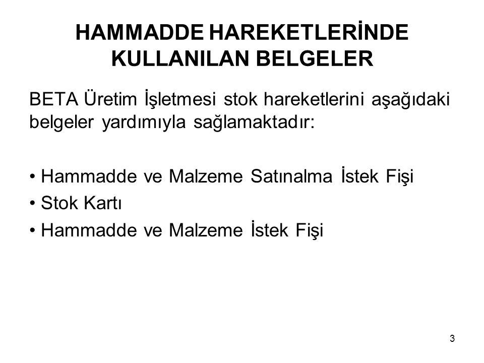 HAMMADDE HAREKETLERİNDE KULLANILAN BELGELER