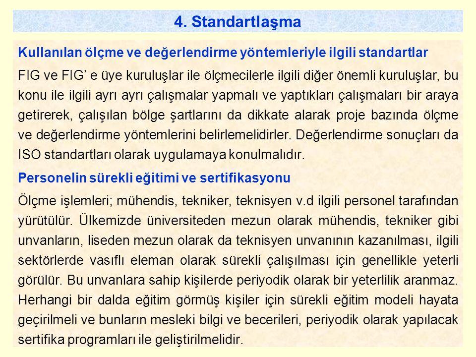4. Standartlaşma Kullanılan ölçme ve değerlendirme yöntemleriyle ilgili standartlar.