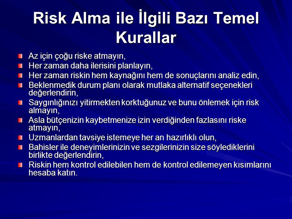 Risk Alma ile İlgili Bazı Temel Kurallar