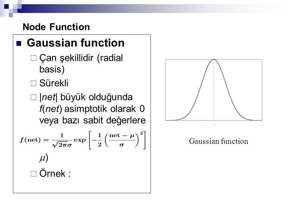 Gaussian function Node Function Çan şekillidir (radial basis) Sürekli