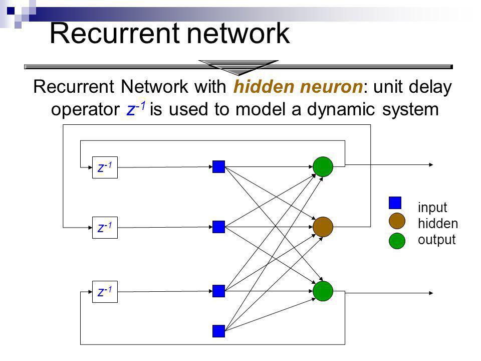 Recurrent network Recurrent Network with hidden neuron: unit delay operator z-1 is used to model a dynamic system.