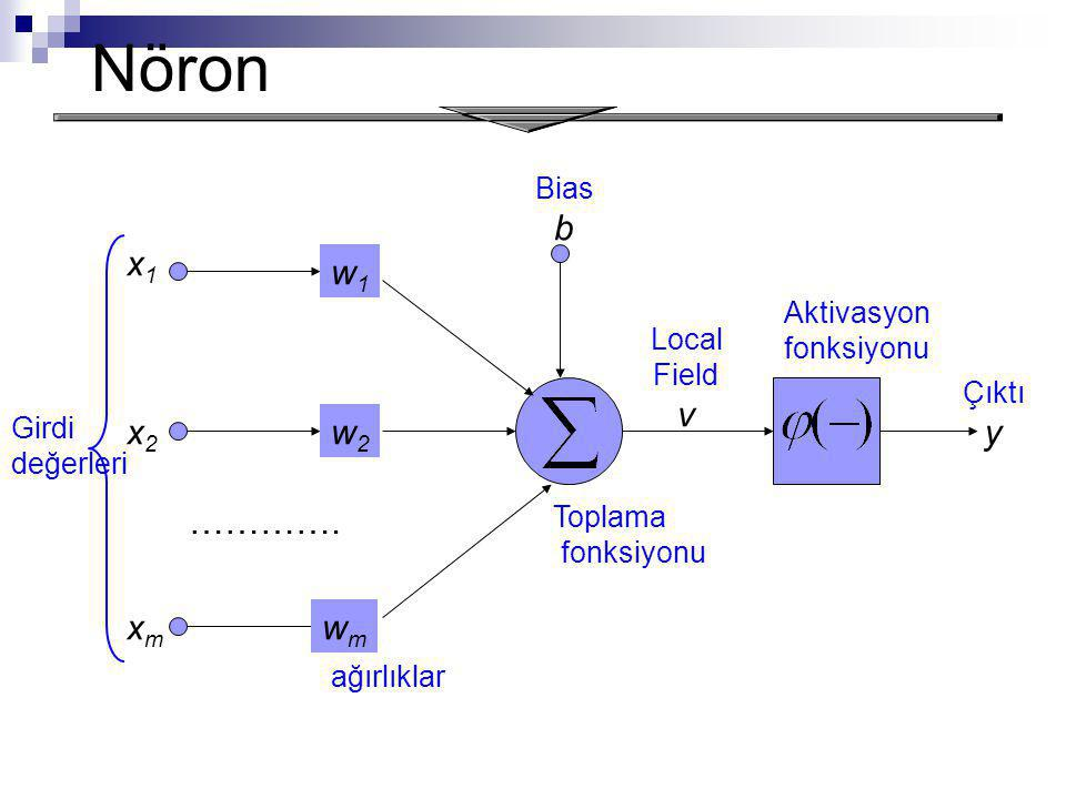 Nöron b x1 w1 v y x2 w2 …………. xm wm Bias Aktivasyon fonksiyonu Local