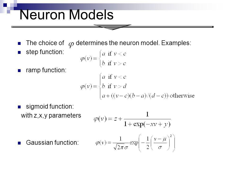 Neuron Models The choice of determines the neuron model. Examples: