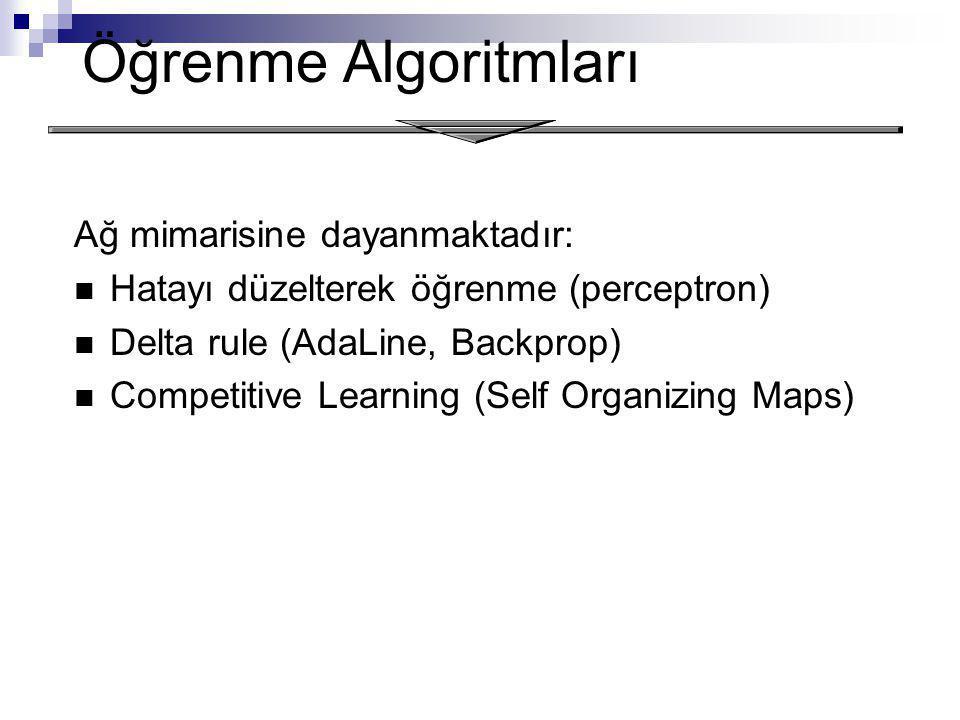 Öğrenme Algoritmları Ağ mimarisine dayanmaktadır: