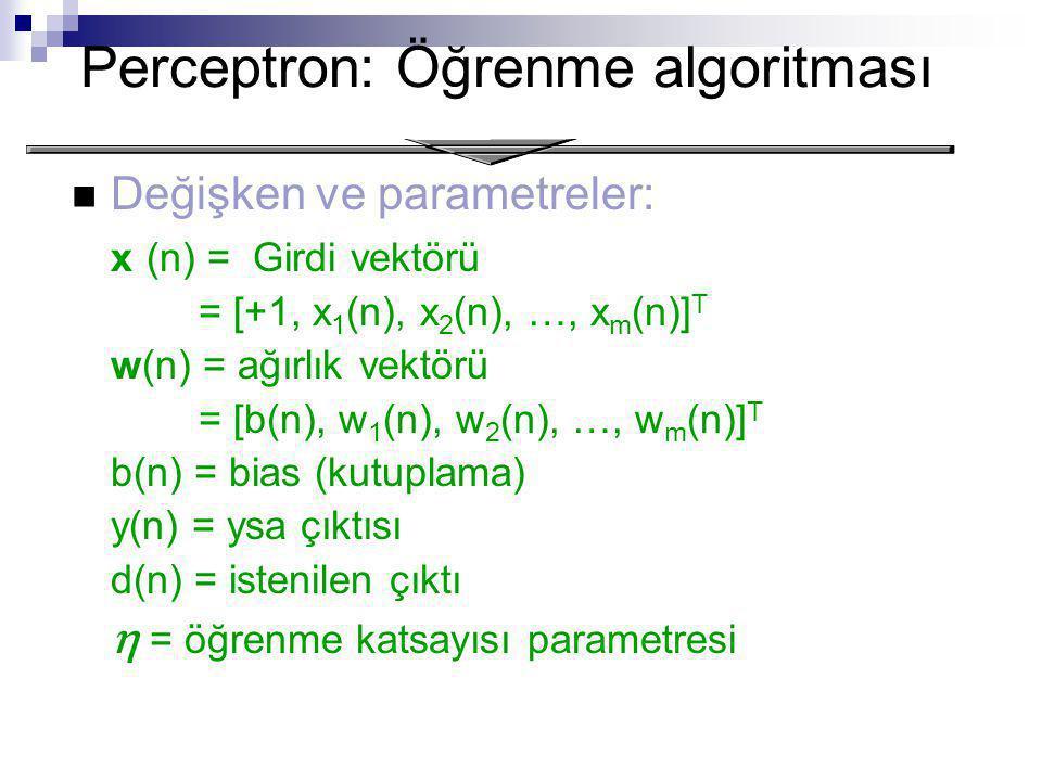 Perceptron: Öğrenme algoritması