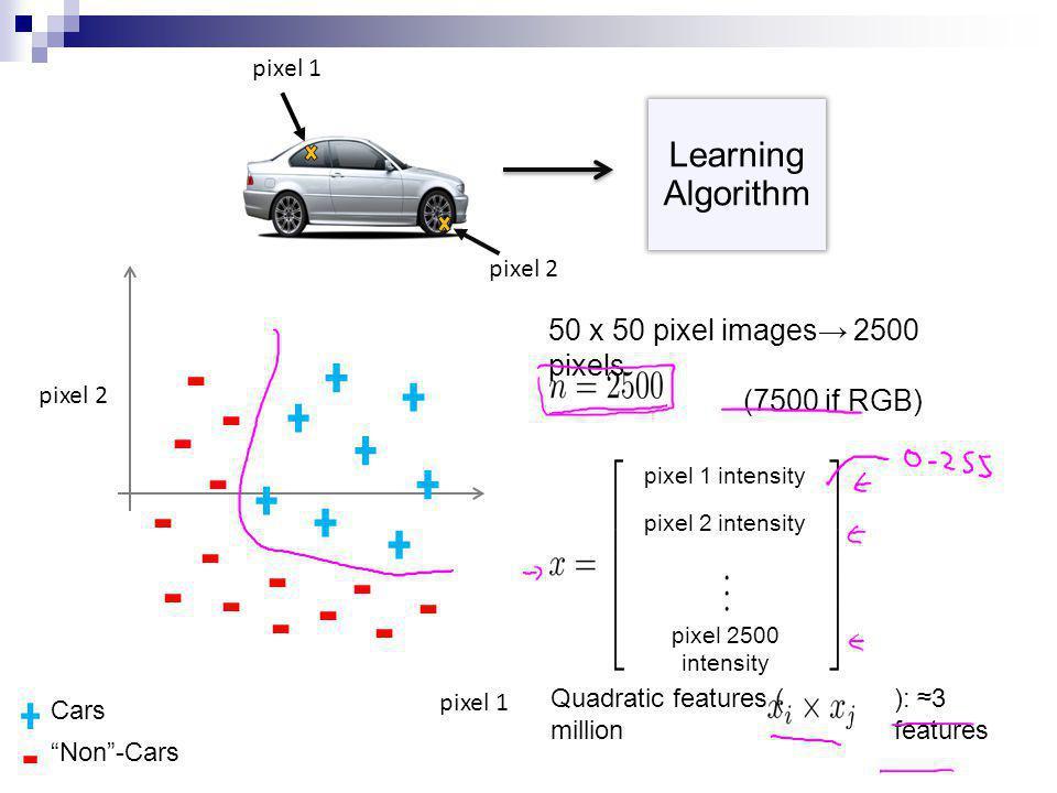 Learning Algorithm 50 x 50 pixel images→ 2500 pixels (7500 if RGB)