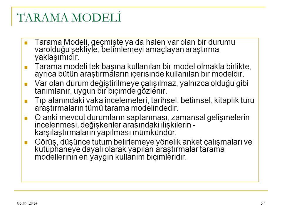 TARAMA MODELİ Tarama Modeli, geçmişte ya da halen var olan bir durumu varolduğu şekliyle, betimlemeyi amaçlayan araştırma yaklaşımıdır.