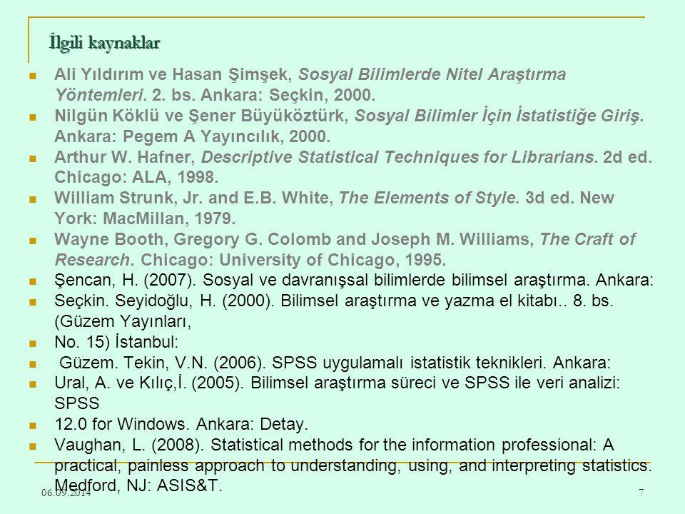 İlgili kaynaklar Ali Yıldırım ve Hasan Şimşek, Sosyal Bilimlerde Nitel Araştırma Yöntemleri. 2. bs. Ankara: Seçkin, 2000.