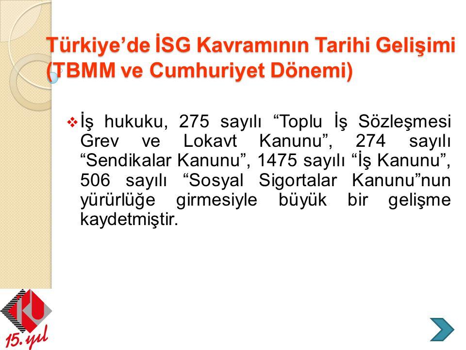 Türkiye'de İSG Kavramının Tarihi Gelişimi (TBMM ve Cumhuriyet Dönemi)