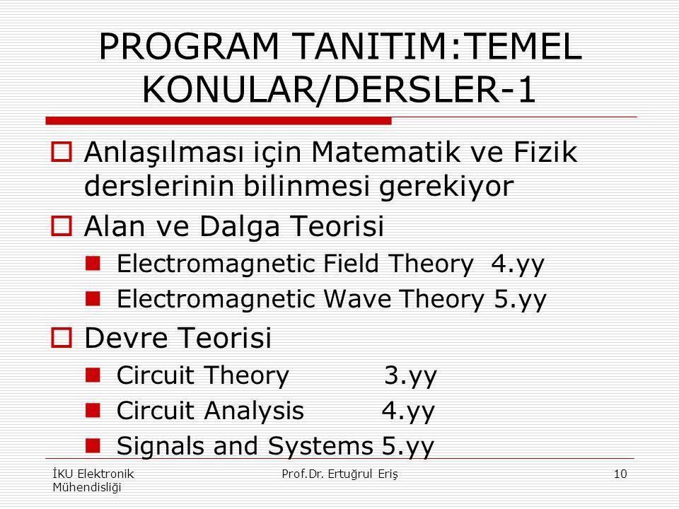 PROGRAM TANITIM:TEMEL KONULAR/DERSLER-1
