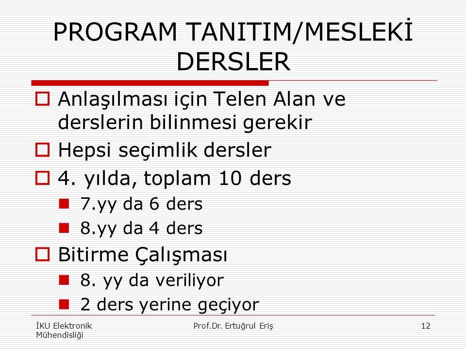 PROGRAM TANITIM/MESLEKİ DERSLER