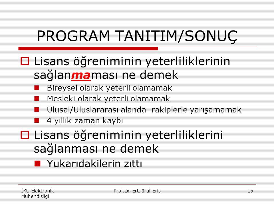 PROGRAM TANITIM/SONUÇ