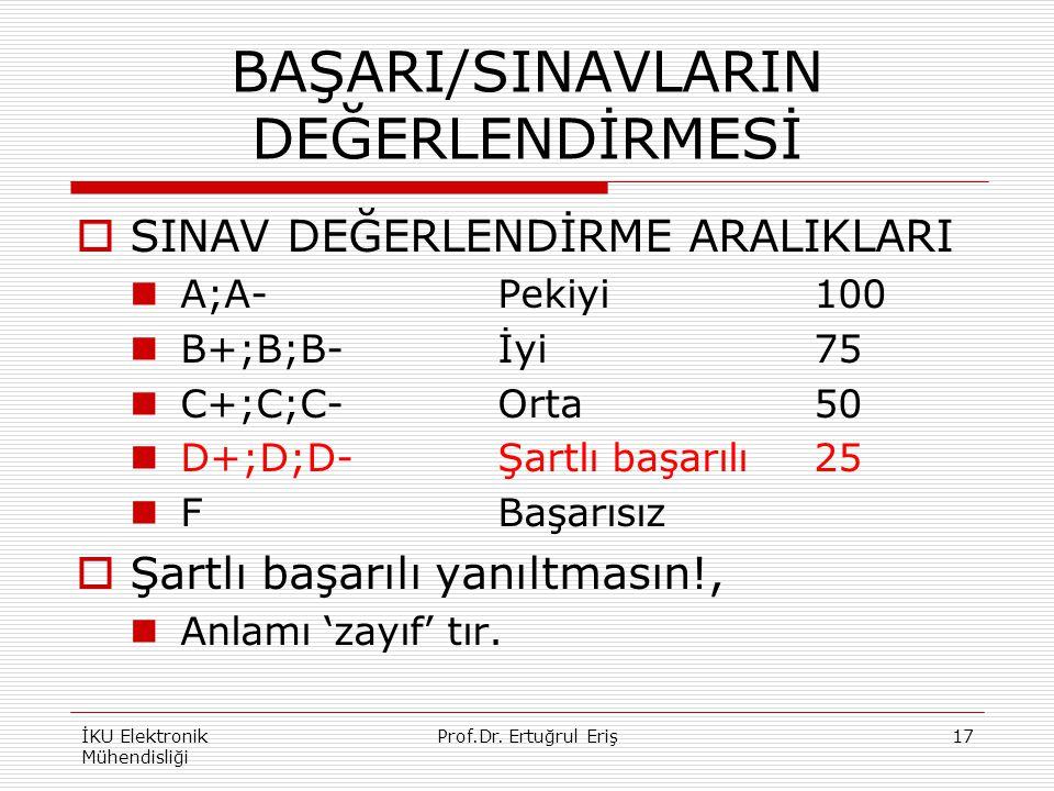 BAŞARI/SINAVLARIN DEĞERLENDİRMESİ