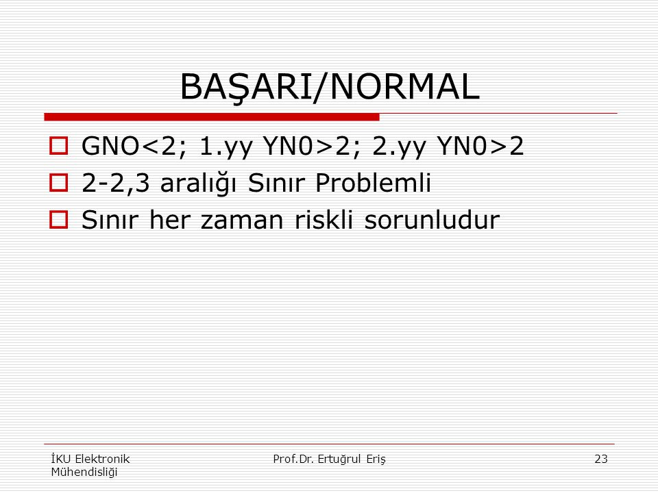 BAŞARI/NORMAL GNO<2; 1.yy YN0>2; 2.yy YN0>2