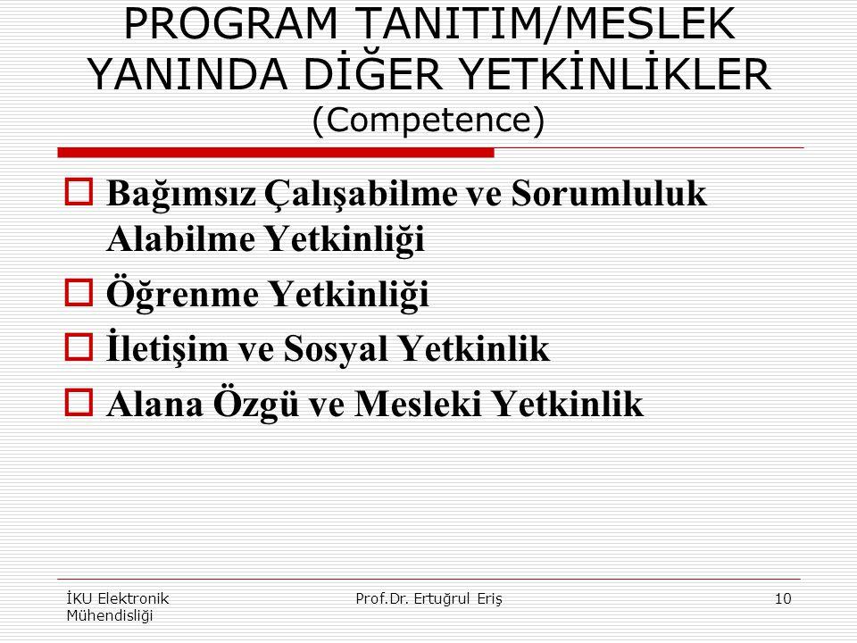 PROGRAM TANITIM/MESLEK YANINDA DİĞER YETKİNLİKLER (Competence)