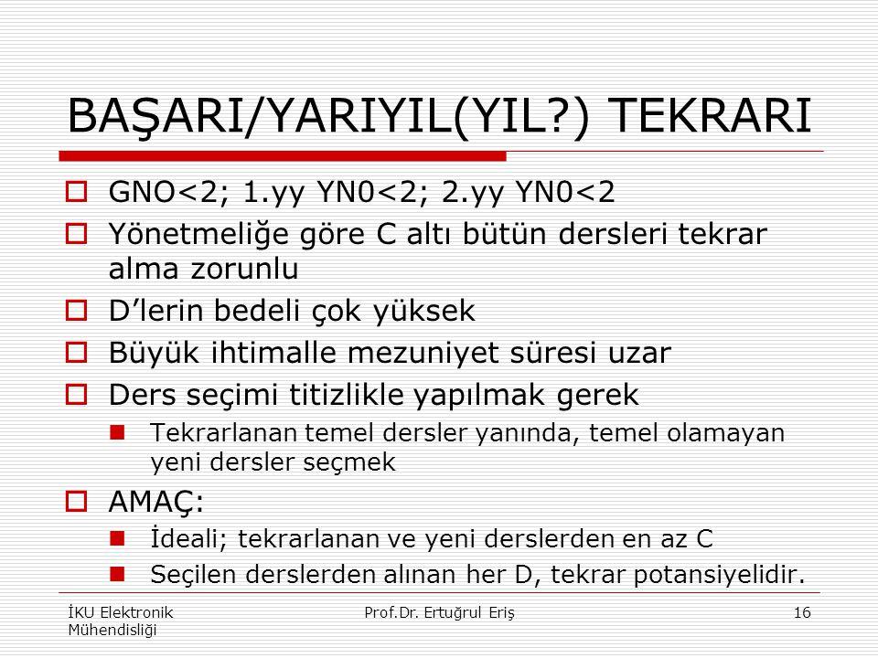 BAŞARI/YARIYIL(YIL ) TEKRARI