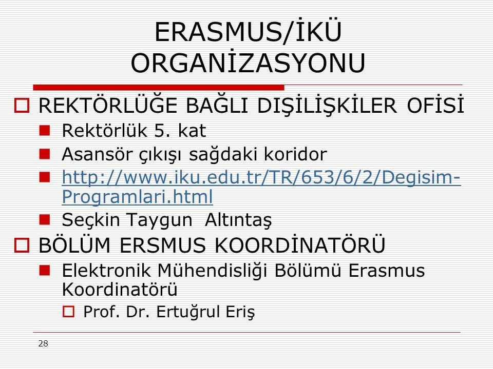 ERASMUS/İKÜ ORGANİZASYONU