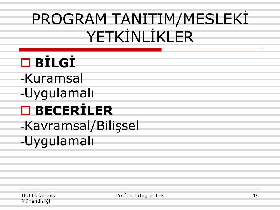 PROGRAM TANITIM/MESLEKİ YETKİNLİKLER