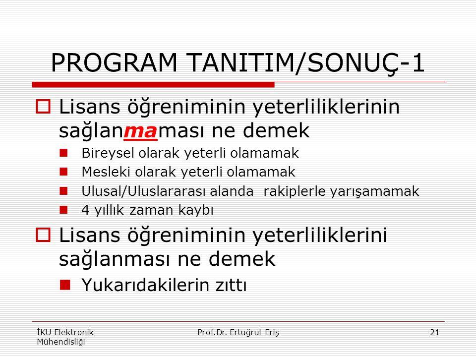 PROGRAM TANITIM/SONUÇ-1