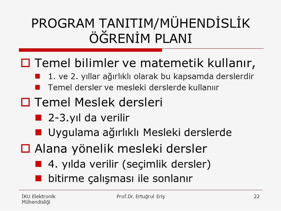 PROGRAM TANITIM/MÜHENDİSLİK ÖĞRENİM PLANI