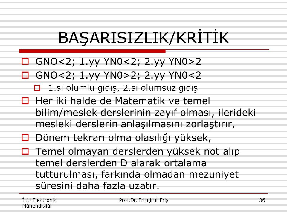 BAŞARISIZLIK/KRİTİK GNO<2; 1.yy YN0<2; 2.yy YN0>2