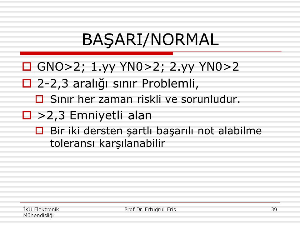 BAŞARI/NORMAL GNO>2; 1.yy YN0>2; 2.yy YN0>2