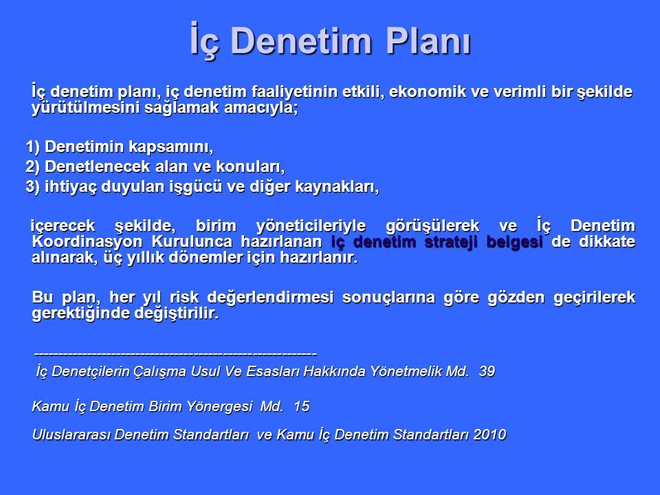 İç Denetim Planı İç denetim planı, iç denetim faaliyetinin etkili, ekonomik ve verimli bir şekilde yürütülmesini sağlamak amacıyla;