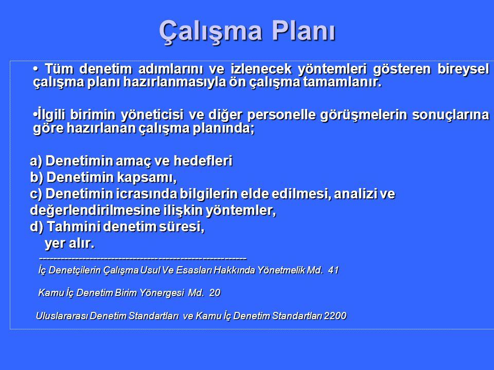 Çalışma Planı • Tüm denetim adımlarını ve izlenecek yöntemleri gösteren bireysel çalışma planı hazırlanmasıyla ön çalışma tamamlanır.