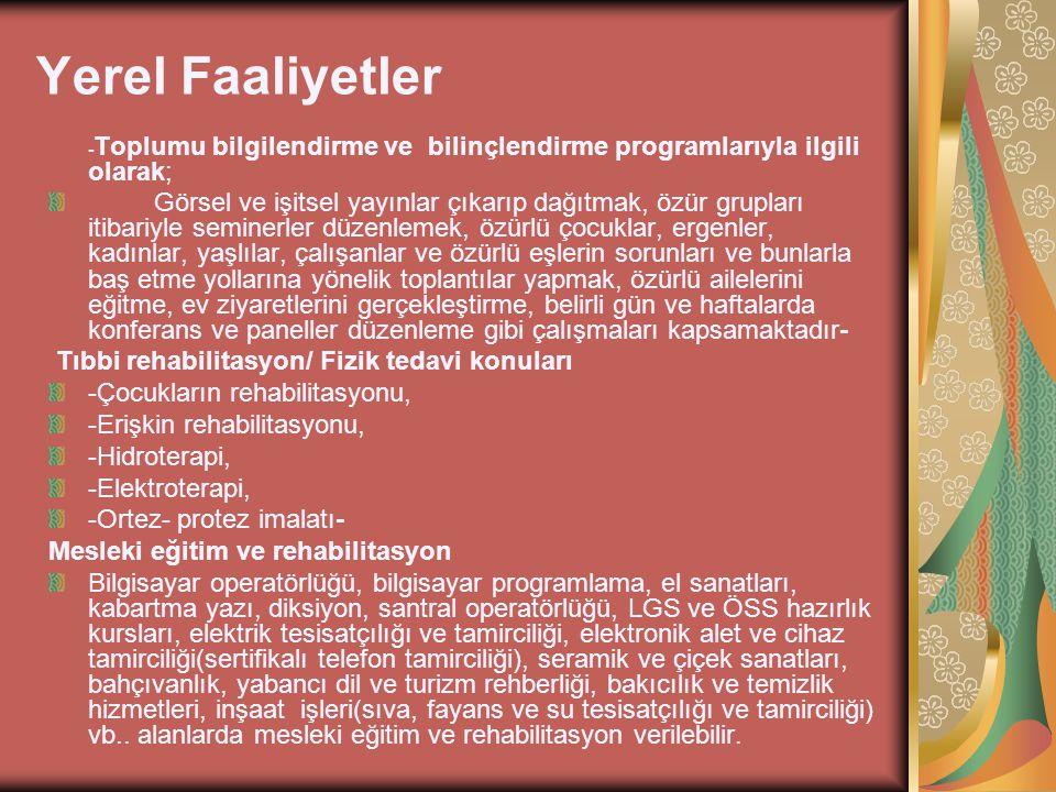 Yerel Faaliyetler -Toplumu bilgilendirme ve bilinçlendirme programlarıyla ilgili olarak;