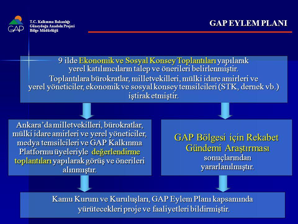 T.C. Kalkınma Bakanlığı Güneydoğu Anadolu Projesi. Bölge Müdürlüğü. GAP EYLEM PLANI.