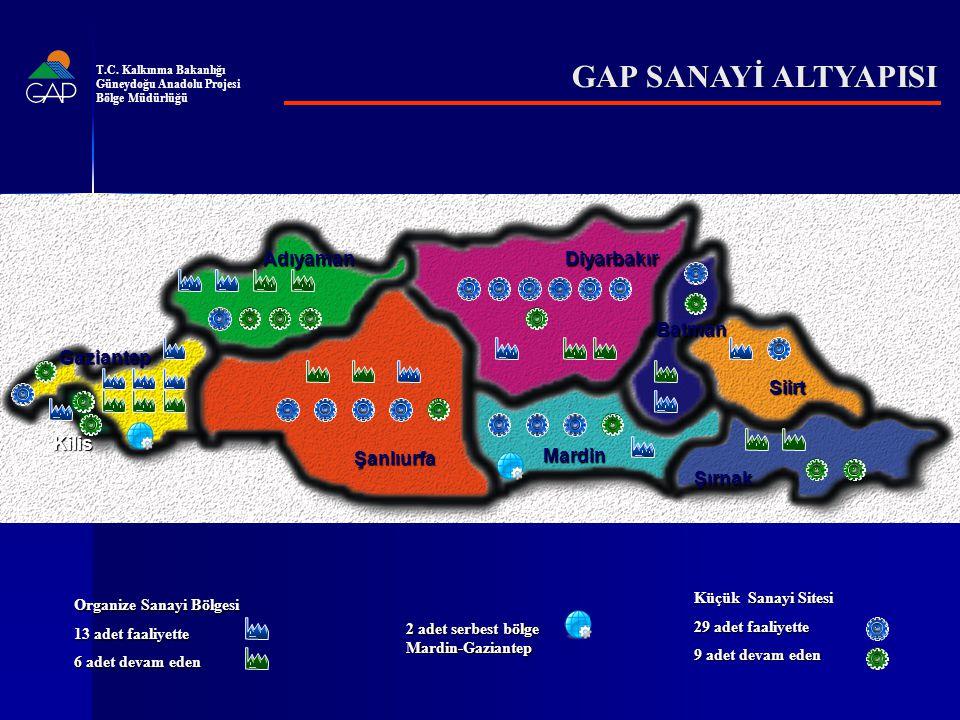 GAP SANAYİ ALTYAPISI Adıyaman Diyarbakır Batman Gaziantep Siirt Kilis