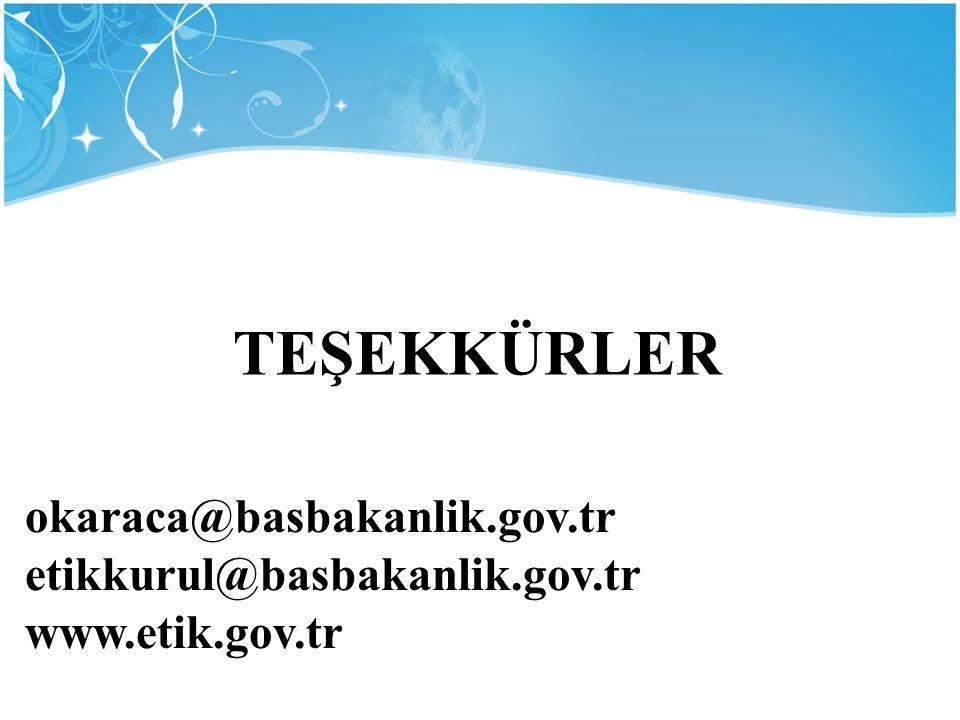 TEŞEKKÜRLER okaraca@basbakanlik.gov.tr etikkurul@basbakanlik.gov.tr www.etik.gov.tr