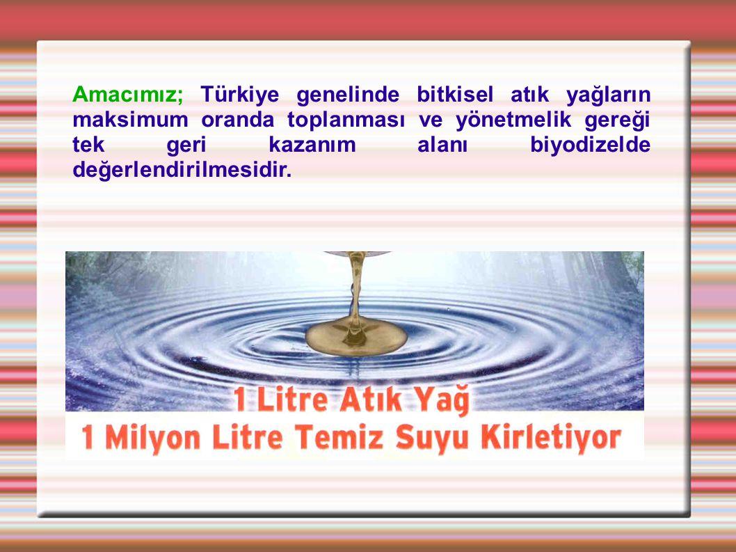 Amacımız; Türkiye genelinde bitkisel atık yağların maksimum oranda toplanması ve yönetmelik gereği tek geri kazanım alanı biyodizelde değerlendirilmesidir.