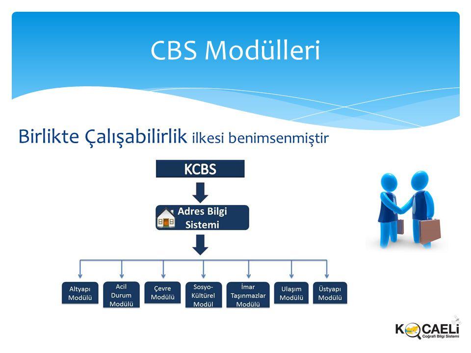 CBS Modülleri Birlikte Çalışabilirlik ilkesi benimsenmiştir