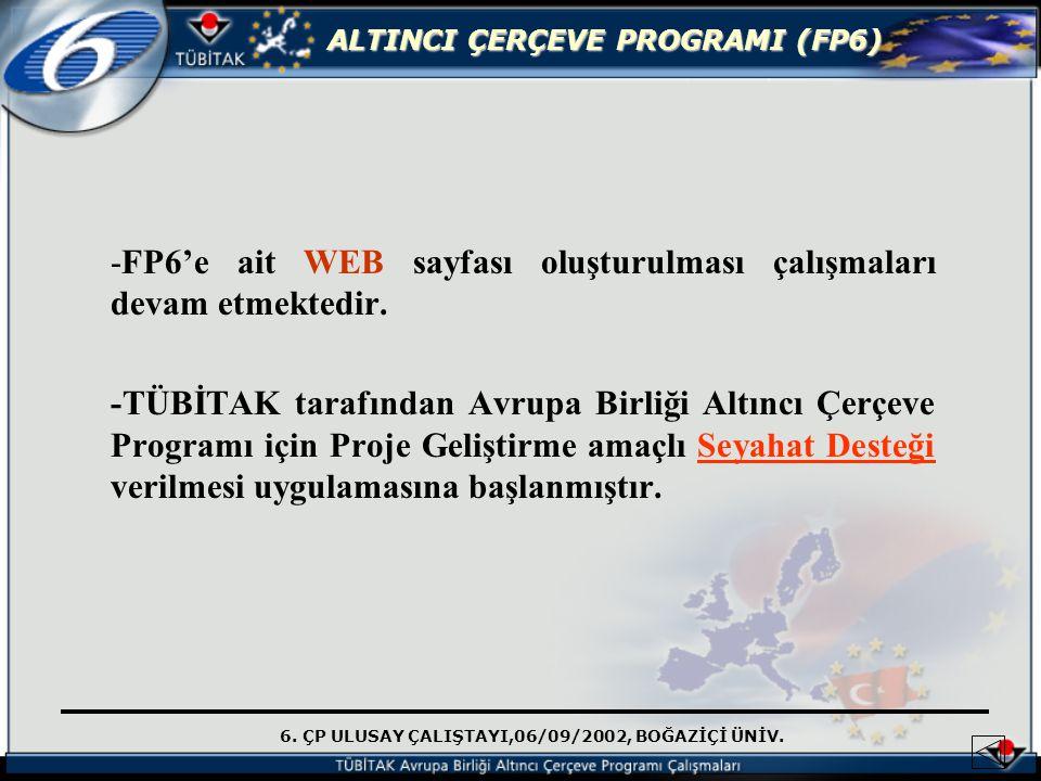 -FP6'e ait WEB sayfası oluşturulması çalışmaları devam etmektedir.