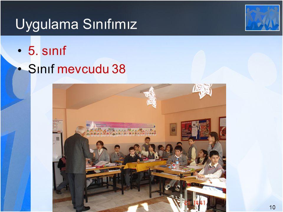Uygulama Sınıfımız 5. sınıf Sınıf mevcudu 38