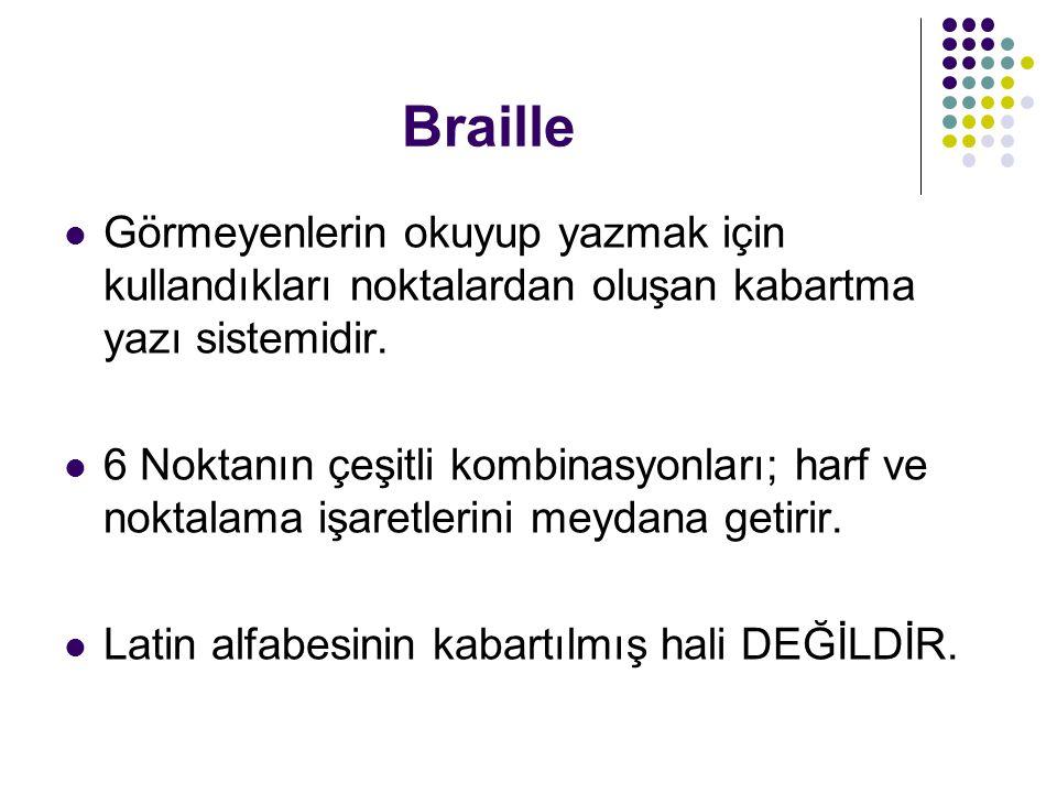 Braille Görmeyenlerin okuyup yazmak için kullandıkları noktalardan oluşan kabartma yazı sistemidir.