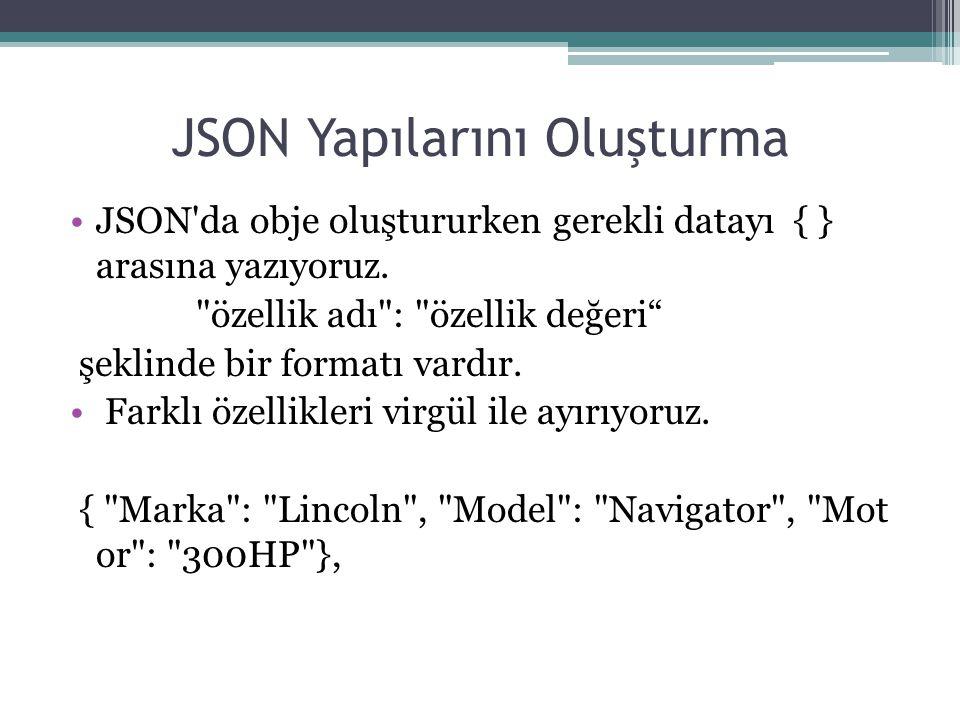 JSON Yapılarını Oluşturma