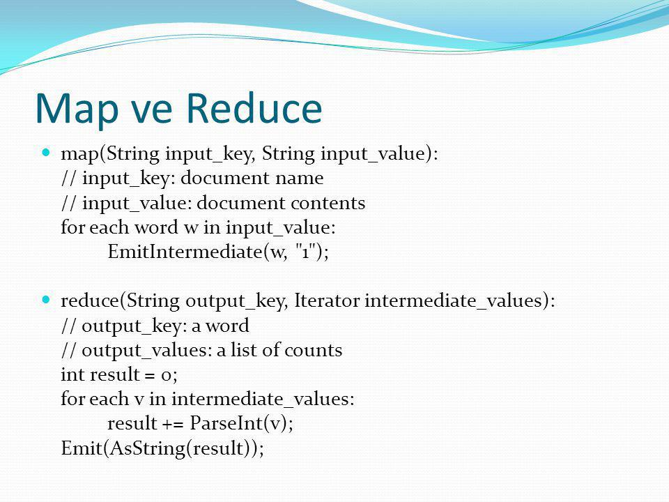 Map ve Reduce map(String input_key, String input_value):