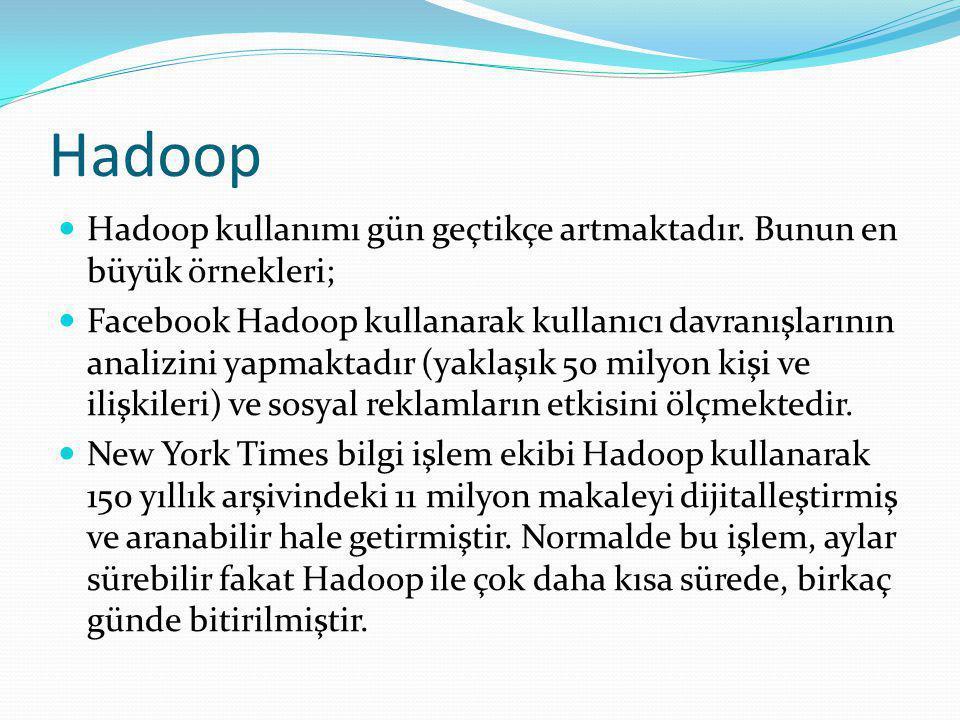 Hadoop Hadoop kullanımı gün geçtikçe artmaktadır. Bunun en büyük örnekleri;
