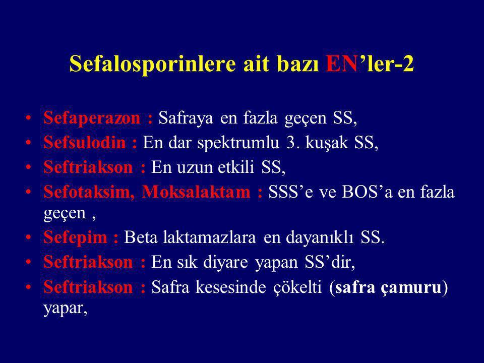 Sefalosporinlere ait bazı EN'ler-2