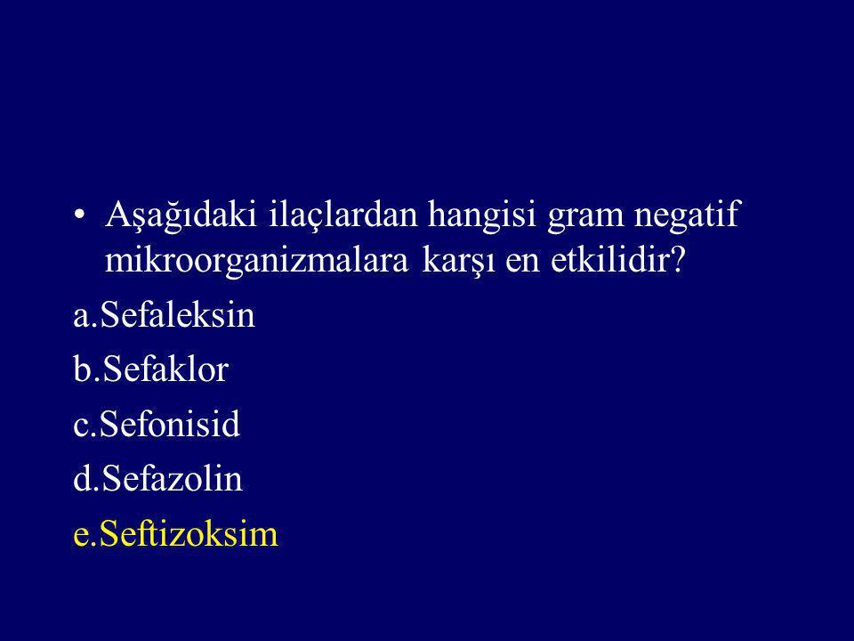 Aşağıdaki ilaçlardan hangisi gram negatif mikroorganizmalara karşı en etkilidir