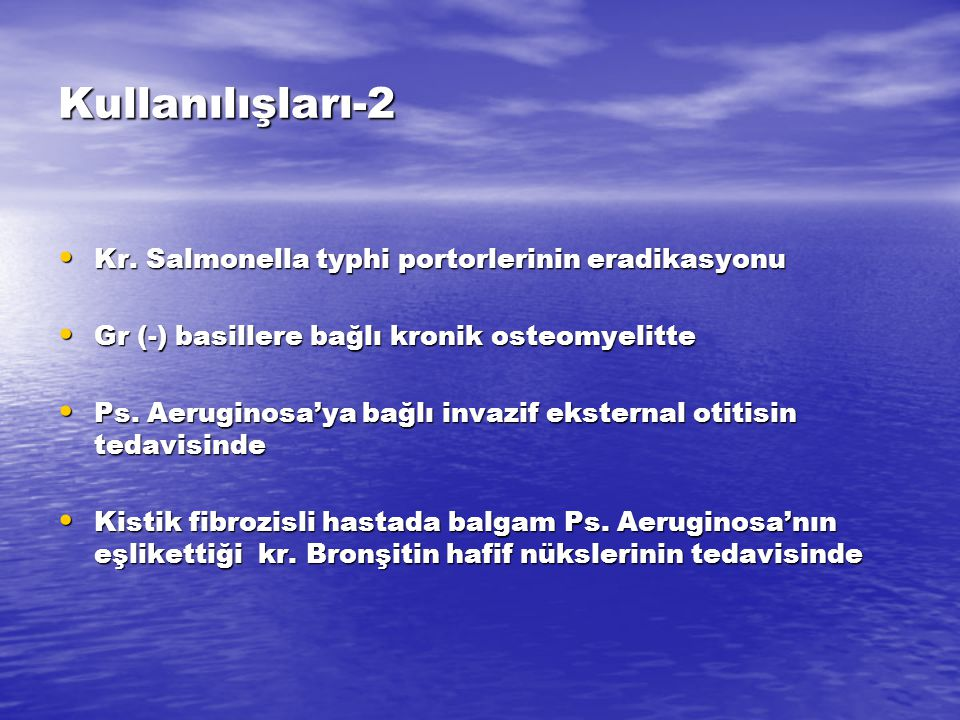 Kullanılışları-2 Kr. Salmonella typhi portorlerinin eradikasyonu