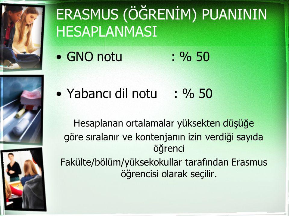 ERASMUS (ÖĞRENİM) PUANININ HESAPLANMASI