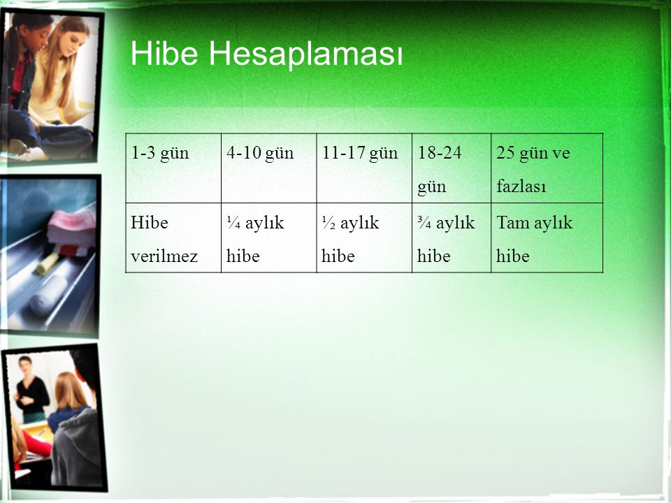 Hibe Hesaplaması 1-3 gün 4-10 gün 11-17 gün 18-24 gün