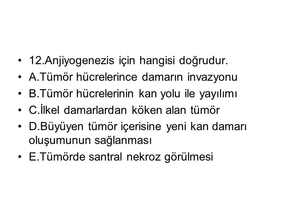12.Anjiyogenezis için hangisi doğrudur.