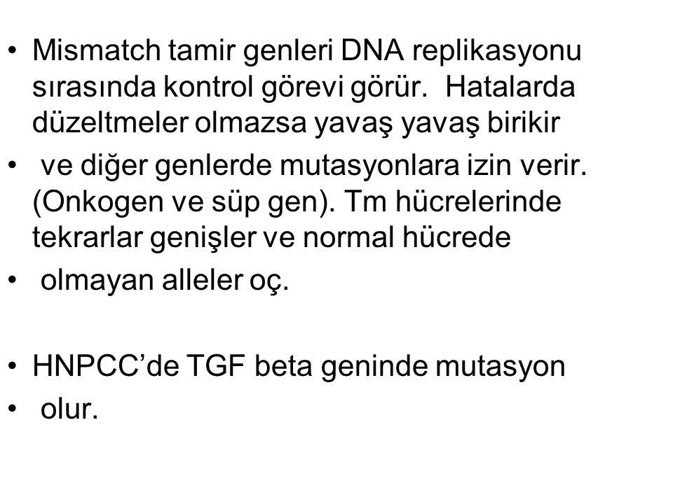 Mismatch tamir genleri DNA replikasyonu sırasında kontrol görevi görür
