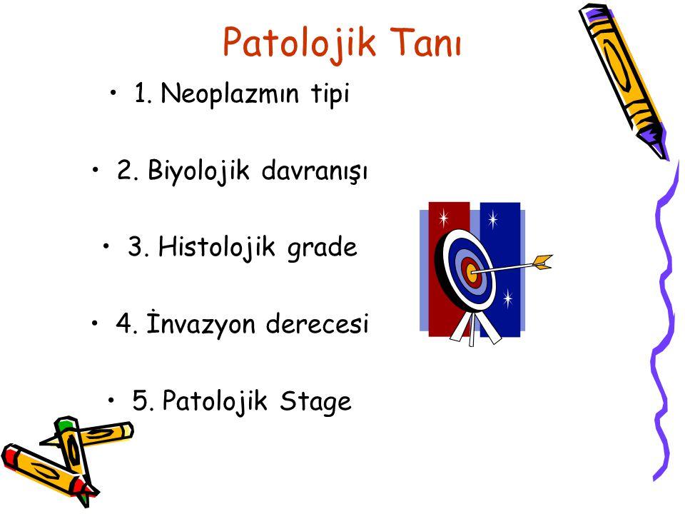 Patolojik Tanı 1. Neoplazmın tipi 2. Biyolojik davranışı